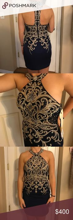 JVN homecoming/ cocktail dress Navy and gold JVM homecoming dress, brand new never worn with tags. Jovani Dresses Prom