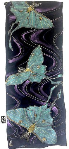 Luna Moth Scarf, Handpainted Silk Scarf, ETSY, Luna Moth Art, Mint Green and Gold, Luna Moth, Moon Goddess Scarf, Takuyo, 14x72 inches