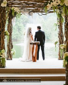 Beautiful handmade Chuppah created by our Event's staff from curly willow   photo credit to Creation Studios in Memphis TN