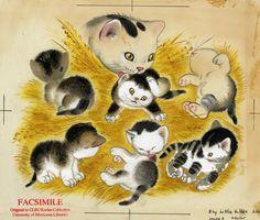 """An original illustration by Gustaf Tenggren for """"The Shy Little Kitten"""", written by Cathleen Schurr (1946)"""