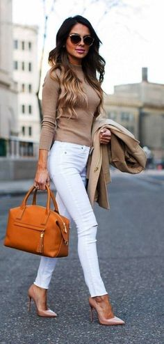 Fabulous white pants and mocha sweater for women work-Fabelhafte weiße Hosen und Mokka-Pullover für Frauen arbeiten Outfit im Herbst… Fabulous white pants and mocha sweaters for women work outfit in fall – - Stylish Work Outfits, Winter Outfits For Work, Business Casual Outfits, Office Outfits, Fashionable Outfits, Chic Outfits, Dressy Outfits, Classy Fall Outfits, Mom Outfits