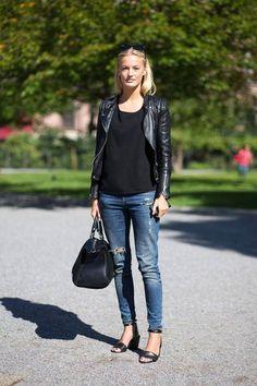 leather jacket, skinny jeams for fall | Stylesnooperdan