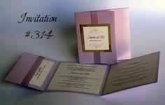 Invitation 314: Lilac Pearl, Gold Pearl, Cream Smooth, Beau Rivage, Calligraph 421, Lavender Ribbon, Champagne Ribbon