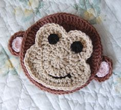Cute monkey applique free crochet pattern