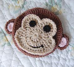 tillie tulip - a handmade mishmosh: Monkey business-monkey applique pattern Appliques Au Crochet, Crochet Motif, Crochet Flowers, Crochet Patterns, Knitting Patterns, Crochet Monkey Pattern, Blanket Crochet, Crochet Stitch, Crochet Crafts