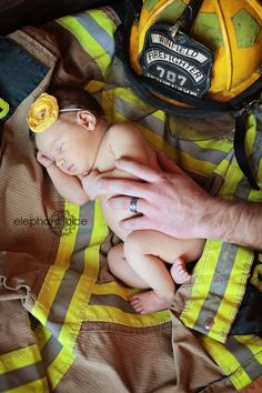 """another dream shoot checked-off my list.newborn with a fireman daddy.This hows how we develop using the word """"fireman"""" instead of firefighter which can be sexist to females. The Babys, Newborn Bebe, Newborn Shoot, Newborn Pictures, Baby Pictures, Newborn Pics, Family Pictures, Newborn Firefighter, Firefighter Pictures"""