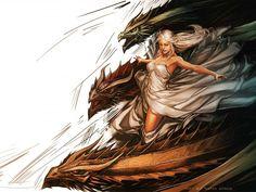 Daenerys, Viserion, Drogon and Rhaegal - Yama Orce