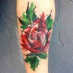Community: 28 Incredible Watercolor Tattoos And Where To Get Them. I love this rose