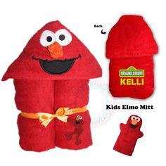Elmo, Elmo hooded Towel, Boys Towel, Girls Towel, Girls Hooded Towel, Boys Hooded Towel, Sesame Street, Personalised, Personalised Elmo - pinned by pin4etsy.com
