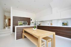 Image result for white gloss kitchen natural wood