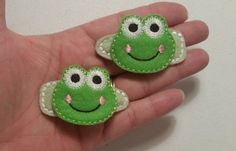 Frog - Felt Hair Clippies - Set of 2 - Ready to Ship