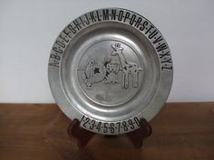 Pewtarex Vintage ABC 123 Pewter Children's Plate by jessamyjay on Etsy