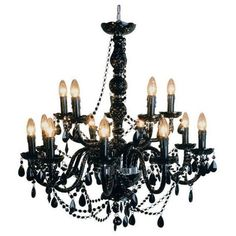 Mariah 14 Arm Black Glass Chandelier (589.975 CLP) ❤ liked on Polyvore featuring home, lighting, ceiling lights, black lamp, hanging chain lamps, onyx lamp, black chandelier and 2 tier chandelier