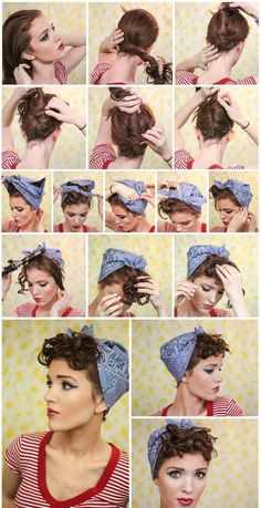 Vintage Hairstyles With Bangs This should be really easy to do with my short hair. Just brush the bangs forward and tie back the rest. I love bandannas, so I can even switch colors. And as I don't have a curling iron, I can probably rag roll my hair. Bandana Hairstyles Short, Hairstyle Names, Fringe Hairstyles, Retro Hairstyles, Pin Up Hairstyles, Relaxed Hairstyles, Vintage Hairstyles Tutorial, Formal Hairstyles, Celebrity Hairstyles