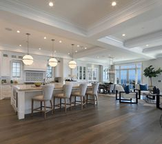White Cape Cod Beach House Design - Home Bunch – Interior Design Ideas Home Decor Kitchen, Kitchen Living, New Kitchen, Kitchen Ideas, Awesome Kitchen, Kitchen Wood, Apartment Kitchen, Country Kitchen, Kitchen Interior