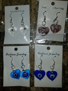 (#2) Lot of 4 New Costume Fashion Jewelry / Art Glass Earrings Assorted Heart  #Unbranded