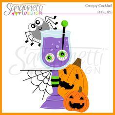 Sanqunetti Design: Creepy Cocktail Halloween Clipart