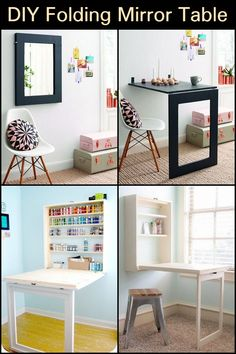 Is your room space getting tight? Then this two for one furniture is for you. Saving Ideas, Diy Table, Clever Diy, For Everyone, Space Saving, Office Desk, Small Spaces, Diy Projects, Mirror