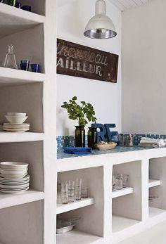 66 Ideas For Kitchen Interior Shelves Home Decor Kitchen, Rustic Kitchen, Diy Kitchen, Kitchen Interior, Home Kitchens, Kitchen White, Kitchen Walls, Open Kitchen, Kitchen Island