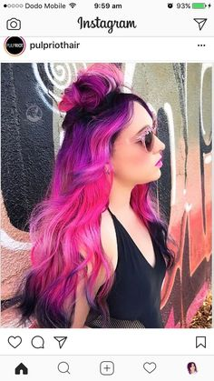 Beauty: Fantasy Unicorn Purple Violet Red Cherry Pink yellow Bright Hair Colour Color Coloured Colored Fire Style curls haircut lilac lavender short long mermaid blue green teal orange hippy boho ombré woman lady pretty selfie style fade makeup grey white silver trend trending multi confetti neon fluro Hair by Pulp Riot