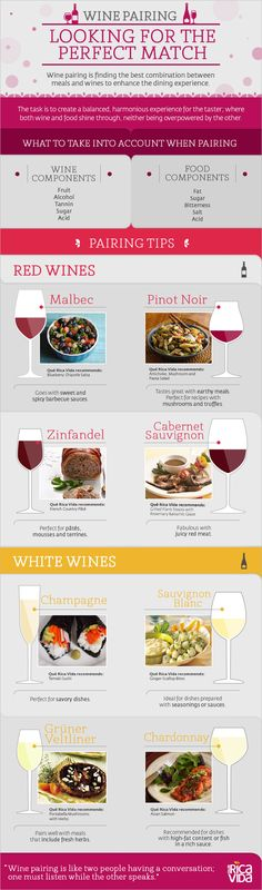 Perfect #Pairings - #Wine and #Food #infographic #infografía