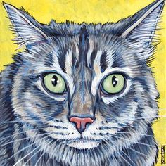 Maine Coon Cat on 6x6 canvas in acrylics from Pet Portraits by Bethany.