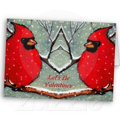 Valentines: Two Red Cardinals On Snowy Branch