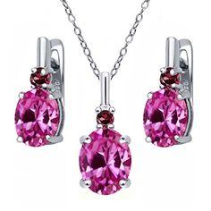7.29 Ct Pink Created Sapphire Red Rhodolite Garnet 925 Silver Pendant Earrings Set
