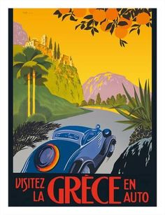 Giclee Print: Visit Greece by Car -Automobile and Touring Club of Greece by Pacifica Island Art : 26x20in