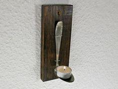 Deko-Objekte - Teelichthalter, altes Besteck, Holzbrettchen Deko - ein Designerstück von SchlueterKunstundDesign bei DaWanda