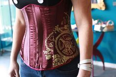 underbust Steampunk Corset, Purple Satin with Gold Gears by uku2