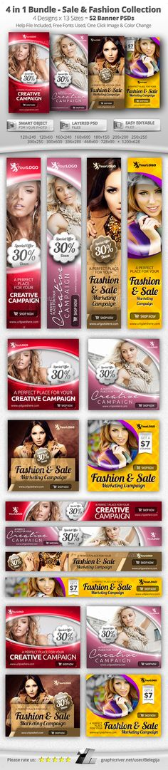 4 in 1 Bundle – 52 Sale & Fashion Web Banners - Banners & Ads Web Elements