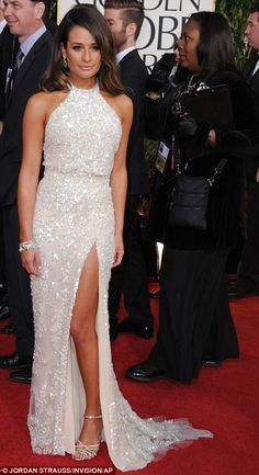 White hot: Heidi Klum and Lea Michele sizzled in their white gowns which were both slashed to the thigh #TopshopPromQueen