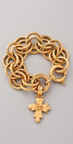 Vintage Vintage Chanel Cross Charm Bracelet