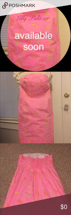 Lilly Pulitzer 👗 Fun strapless dress. Pink with yellow, orange and green birds. Has a side zipper. Fully lined in great shape. No rips or snags. Lilly Pulitzer Dresses Strapless