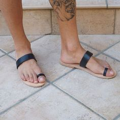 a6648293ad7 toe ring sandals Two Strap Sandals