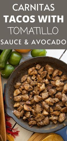 Sharing with you this amazing Carnitas Tacos with Tomatillo Sauce and Avocado recipe that is perfect for the whole family! If you are looking for a pork taco recipe with carnitas and amazing tomatillo and avocado sauce this is for you! #tacos #taconight #tacorecipe Best Lunch Recipes, Easy Dinner Recipes, Delicious Recipes, Easy Recipes, Asian Recipes, Mexican Food Recipes, Tomatillo Sauce, Carnitas Tacos, Taco Recipe