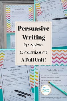 Looking for graphic organizers to teach your persuasive writing unit? Look no further! This fun unit includes lesson plans, anchor chart ideas, prompts, every graphic organizer you might need, writing examples, video clips, student checklist and teacher rubric!