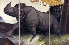 WALTON FORD Loss of the Lisbon Rhinoceros, 2008 Watercolor, gouache, ink and pencil on paper in three parts. Left panel: 95 3/8 x 39 3/4 in.(242.3 x 101 cm); center panel: 95 3/8 x 60 in. (242.3 x 152.4 cm); right panel: 95 3/8 x 40 in.(242.3 x 101.6 cm).