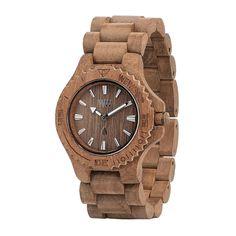 WeWOOD Date Teak Brown Men's Wooden Round Analog Miyota Quartz Wood Wrist Watch