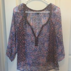 American Eagle Sheer Floral Top One of my favorite tops that unfortunately I'm going to have to get rid of because it's too short on me now. Perfect condition, 3/4 sleeve, perfectly paired with white shorts for that perfect summer outfit! (100% polyester) American Eagle Outfitters Tops