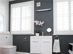 Bathroom wall painted in Down Pipe Modern Emulsion. An inspirational image from Farrow and Ball
