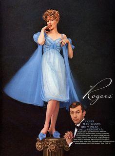 Rogers women's vintage #lingerie #nightgown #peignoir 1959 ad man puts his woman on a pedestal