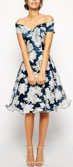 Pretty floral print off shoulder wedding guest dress