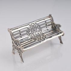 Zilveren miniatuur, 925 gehalte, miniatuur bankje.