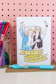 Bill & Ted's Excellent Adventure / Bogus Journey Fan Art Greeting Card, created from a watercolour illustration by illustrator and designer @arosecast. Click to see more fan art greeting cards and stationery
