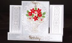 handmade female birthday card , basket of flowers, greeting card, birthday card, floral design , by MikesNicknacks on Etsy