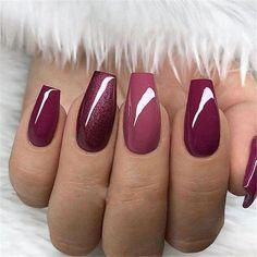 Elegant Purple Glitter Casket Nails Inspirations + Tips - Page 7 - Chic C . - Beauty Tips & Tricks : Elegant Purple Glitter Casket Nails Inspirations + Tips - Page 7 - Chic C . - Beauty Tips & Tricks Gorgeous Nails, Love Nails, Pretty Nails, Style Nails, Purple Nails, Red Nails, Purple Glitter, Burgundy Nails, Ombre Burgundy