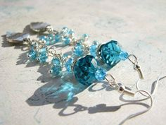 Turquoise earrings Leaf earrings Long earrings by BohoShabbyChic