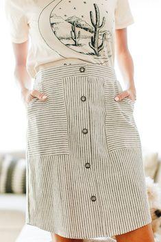 Lolly Black Striped Skirt
